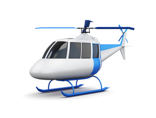 Toy helicopter isolated on white background. 3d render image.