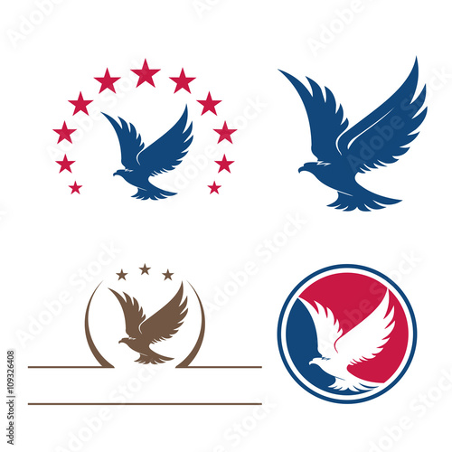 quoteagle star bird flying logo symbol bundle setquot im225genes
