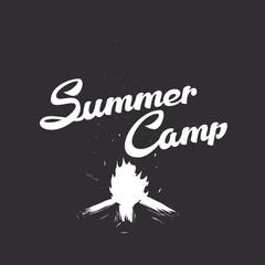 Summer emblem with campfire