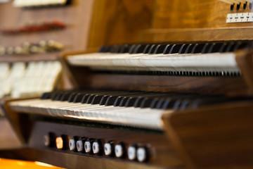 church organ keyboard closeup