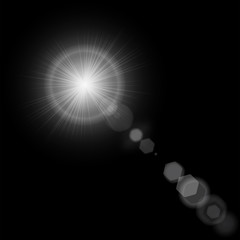 Summer sun with realistic lens flare lights and glow on black background. Vector illustration eps 10