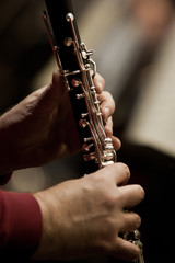 Papiers peints Musique Human hands playing a clarinet closeup