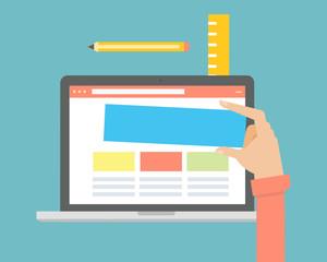 Website builder design concept. For web and mobile applications of web design