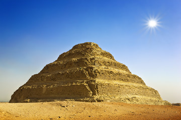 Egypt. Sakkara. The Step Pyramid of King Djoser (Zoser) of the 3rd Dynasty. The Pyramid Fields from Giza to Dahshur is on UNESCO World Heritage List