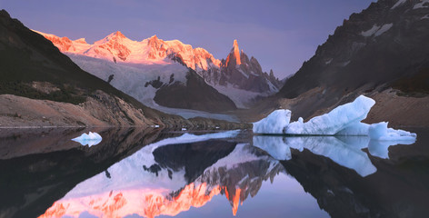 Mount Torre (Fitz Roy) at sunrise. Los Glaciares National Park,