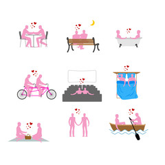 LGBT silhouettes set. Pink people in movie theater. Lovers in ba