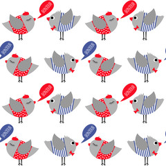 French style dressed birds saying bonjour (hello) seamless pattern on white background. Cute cartoon girl and boy birds vector illustration.
