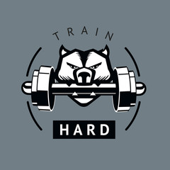 Angry dog with dumbbells. Sports motivation poster. Isolated vector sign