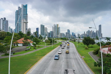 Highway in Panama City with skyscrapers and cloudy sky, Panama, Central America