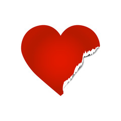 Vector image of broken heart with ripped edge.