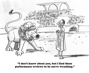 Business cartoon about a scary performance review.