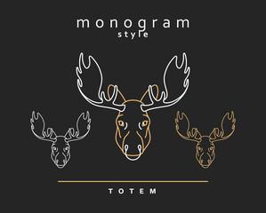 Monogram elk. Totem moose. A set of monogrammed moose. Sketch of moose, elk. Wild animals. Emblem  Christmas deer. Forest animals. Elk horns. The head of a moose.