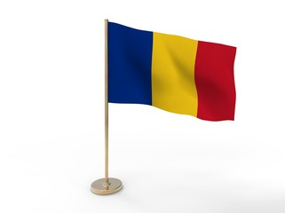 flag of Romania. 3D illustration on white background with shadow.