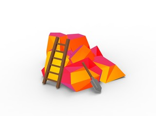 3d illustration of red orange rocks with ladder and shovel. icon for game web. art abstract. isolated on white background. low polygon style.