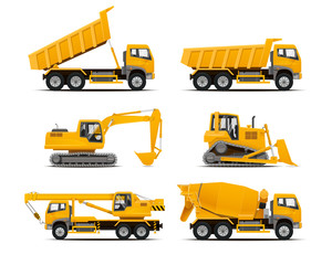 Set of the construction machinery vehicles. Vector Truck, Vector Dumper, Vector Excavator, Vector Mobile crane, Dozer. High detailed vector illustration.