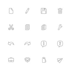 gray line simple web icon set for web design, user interface (UI), infographic and mobile application (apps)