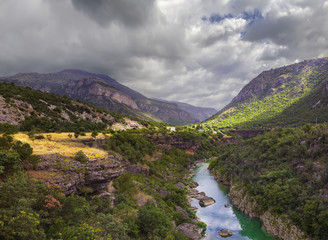 Canyon of river Tara in Montenegro/ Scenic panoramic view of the canyon of the river Tara in Montenegro