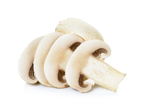 Sliced Champignon mushroom isolated