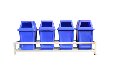 Old blue set of plastic bin isolated on white background.