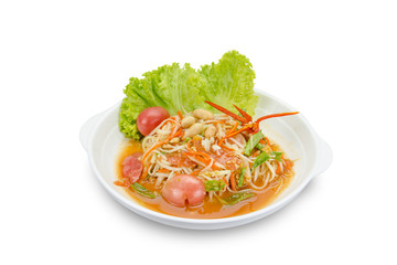 Green papaya mix carrots salad or Som Tum, spicy thai food,clipping path