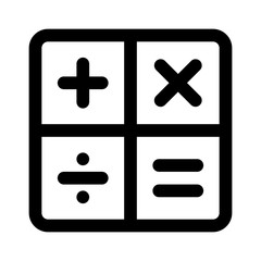 Calculator arithmetic operation signs / symbols line art icon for apps