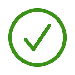 Green circle confirm checkbox or check box line art icon for apps and websites