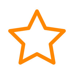 Yellow star rating, movie star or favorite line art icon for apps and websites