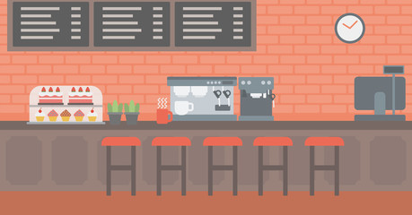 Background of bakery with pastry and coffee maker.