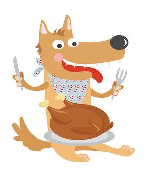 dog chowing down on turkey