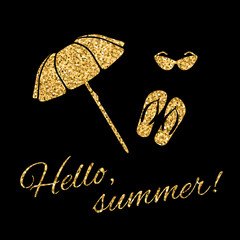 Hello summer Typography Graphic background. Fashion stylish gold print t shirt, sports wear. Beach umbrella, slippers and sunglasses. Tropical logo. Design apparel, card, poster. Vector illustration.