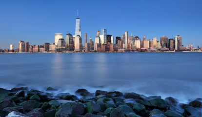 Fotomurales - Manhattan skyline, downtown in New York city at night, USA