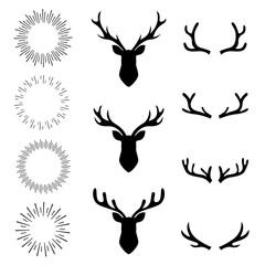 collection set deer head and sunburst