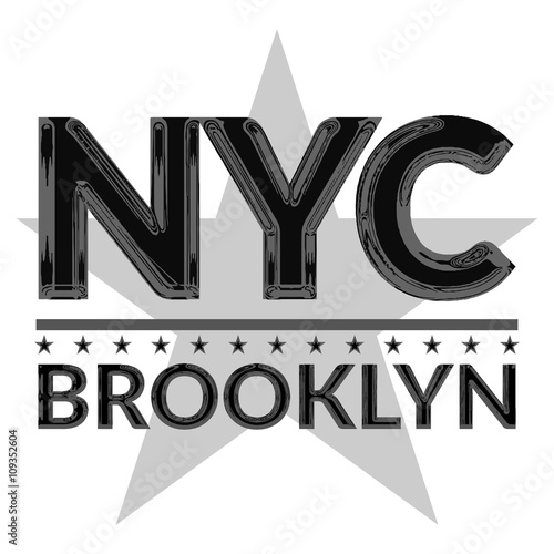 t shirt typography graphic new york city brooklyn style nyc with