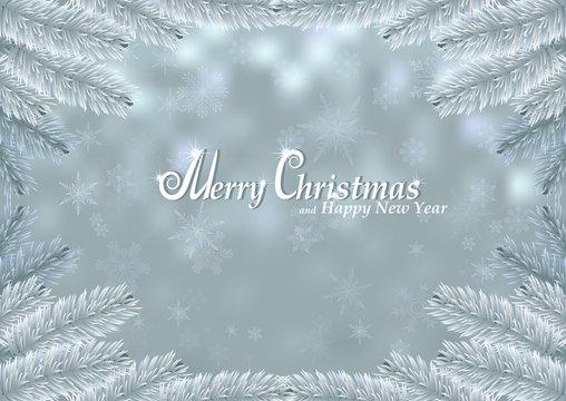Christmas white fir frame snow background