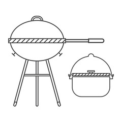 Barbecue Grill Thin Line Vector Icon