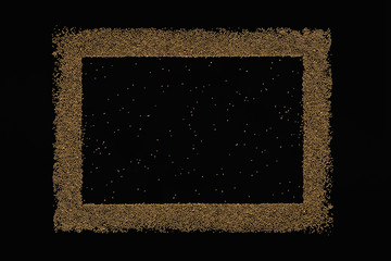 Golden blank frame on a black background. The texture.