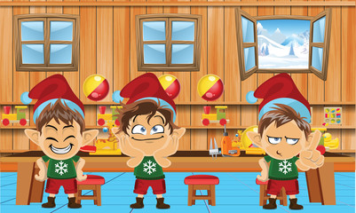 Cute and funny santa elves