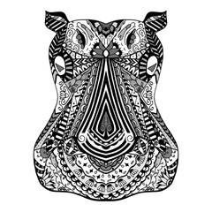 Hippo zentangle stylized