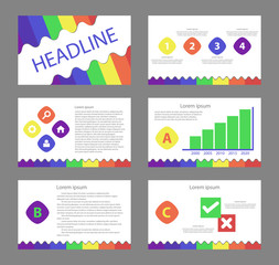 colorful business presentation template set and icon 1