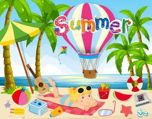 Summer theme with woman in bikini on beach