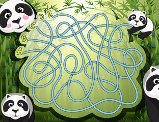 Maze game with panda and bamboo