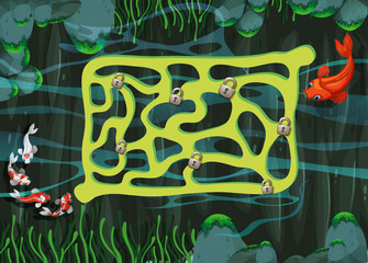 Game template with fish swimming in the pond