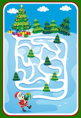 Game template with santa and christmas tree