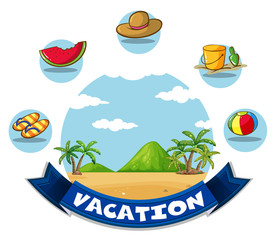 Vacation banner with beach and toys