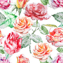 Seamless pattern with  roses. Watercolor.