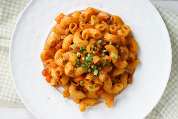 macaroni pasta in tomato sauce with chop meat