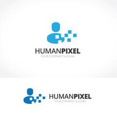 Human Pixel logo,digital logo. man logo. vector logo template