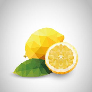 realistische Zitrone im Low Poly - Style