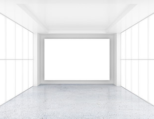 Empty room with white billboard and glossy concrete floor