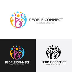 People connect logo.communication logo. family logo. vector logo template